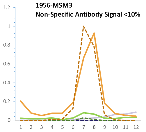 Analysis of Mass Spec data (dashed-line) of fractions stained with EGFR (Her1 / ErbB1) QAVA mAb [Clone H9B4] (solid line) reveals that less than 10% of signal is attributable to non-specific binding of H9B4 to targets other than EGFR (Her1 / ErbB1). This specificity is excellent compared to the average antibody which shows as much as 30% non-specific signal. Data from Jurkat, U2oS and HeLa cells.