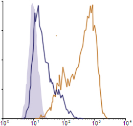 Flow Cytometry data demonstrating successful knockdown of PD-L1 / CD274 by QX7 at 48 hrs post 2nd transfection (Orange = QX7 siRNA, Blue-Violet = Negative Control siRNA (Product Number QC1), Light Purple = Isotype Control)