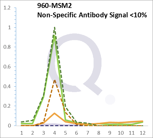 Analysis of Mass Spec data (dashed-line) of fractions stained with CD44 / HCAM MS-QAVA™ monoclonal antibody [Clone: HCAM/918] (solid-line), reveals that less than 12.6% of signal is attributable to non-specific binding of anti-CD44 / HCAM Std. Anti-Human, Primate [Clone HCAM/918] to targets other than CD44 protein. Even frequently cited antibodies have much greater non-specific interactions, averaging over 30%. Data in image is from analysis in Jurkat, U202 and HeLa cells.