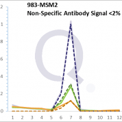 Analysis of Mass Spec data (dashed-line) of fractions stained with Cdk1 / p34cdc2 MS-QAVA™ monoclonal antibody [Clone: CDK1/873] (solid-line), reveals that less than 1.4% of signal is attributable to non-specific binding of anti-Cdk1 / p34cdc2 [Clone CDK1/873] to targets other than CDC2 protein. Even frequently cited antibodies have much greater non-specific interactions, averaging over 30%. Data in image is from analysis in Jurkat, U202 and HeLa cells.