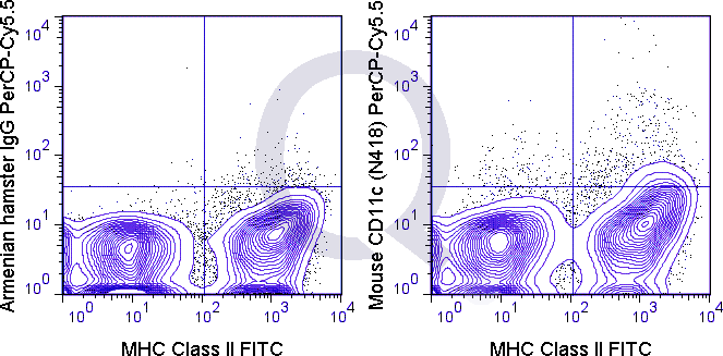 C57Bl/6 splenocytes were stained with Mouse Anti-MHC Class II FITC  and 0.25 ug PerCP-Cy5.5 Mouse Anti-CD11c .