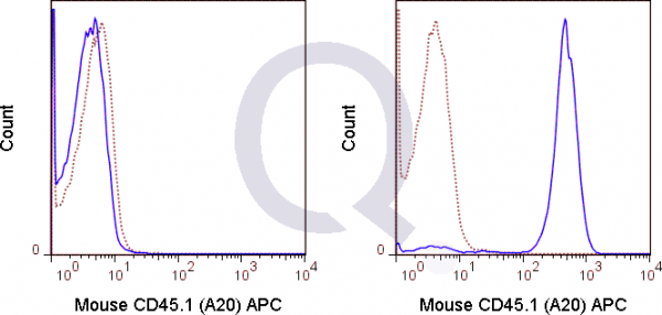 C57Bl/6  (solid line) or 0.5 ug APC Mouse IgG2a isotype control (dashed line). Flow Cytometry Data from 10,000 events.