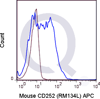 C57Bl/6 splenocytes were stimulated with anti-IgM and anti-CD40 for 4 days. Cells were then stained with 0.25 ug APC Mouse Anti-CD252 (QAB75) (solid line) or 0.25 ug APC Rat IgG2b isotype control (dashed line). Flow Cytometry Data from 10,000 events.