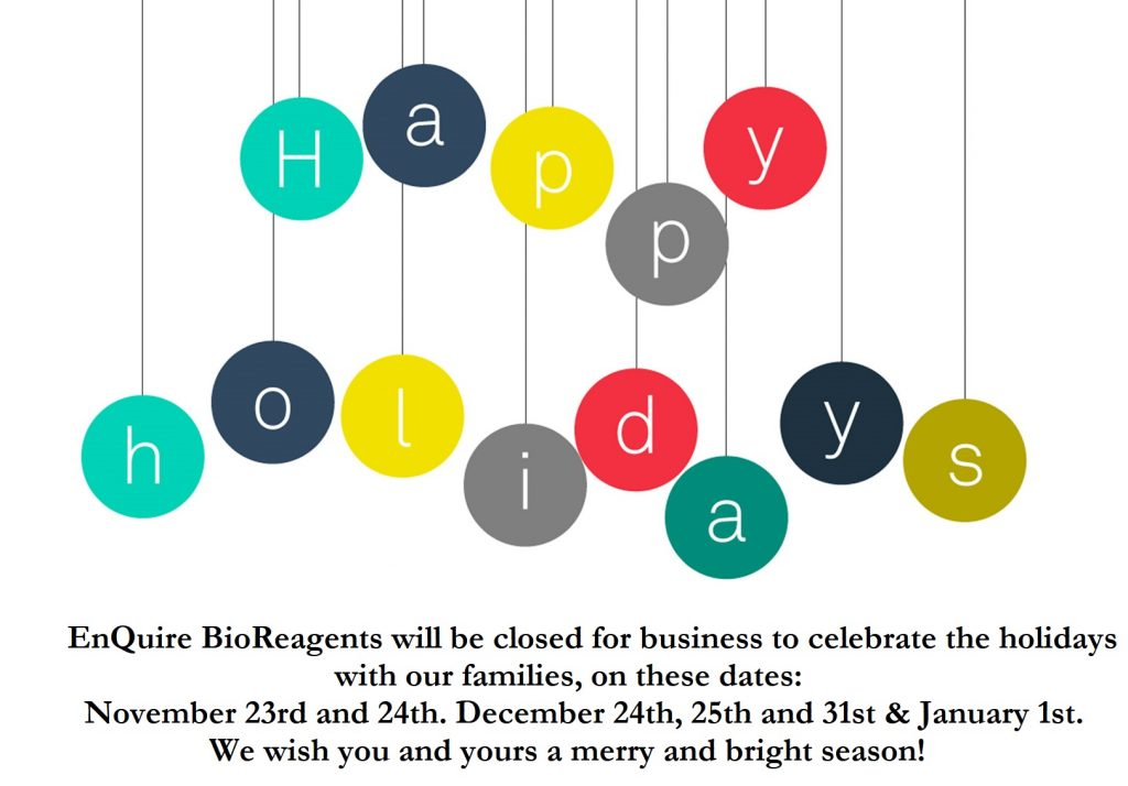 Happy Holidays! We will be closed November 23, 24, December 24, 25, and 31, & January 1.