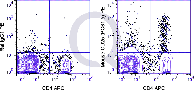 C57Bl/6 splenocytes were stained with APC Mouse Anti-CD4  and 0.125 ug PE Mouse Anti-CD25 (QAB34) (right panel) or 0.125 ug PE Rat IgG1 (left panel).