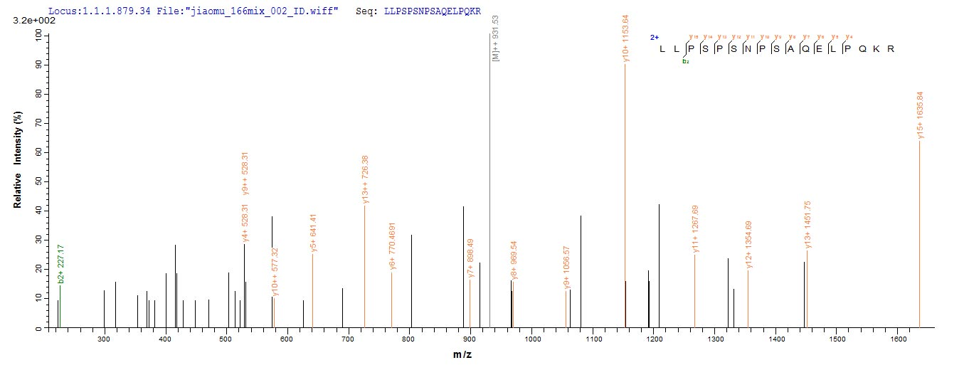 SEQUEST analysis of LC MS/MS spectra obtained from a run with QP7706 identified a match between this protein and the spectra of a peptide sequence that matches a region of Adipocyte enhancer-binding protein 1.