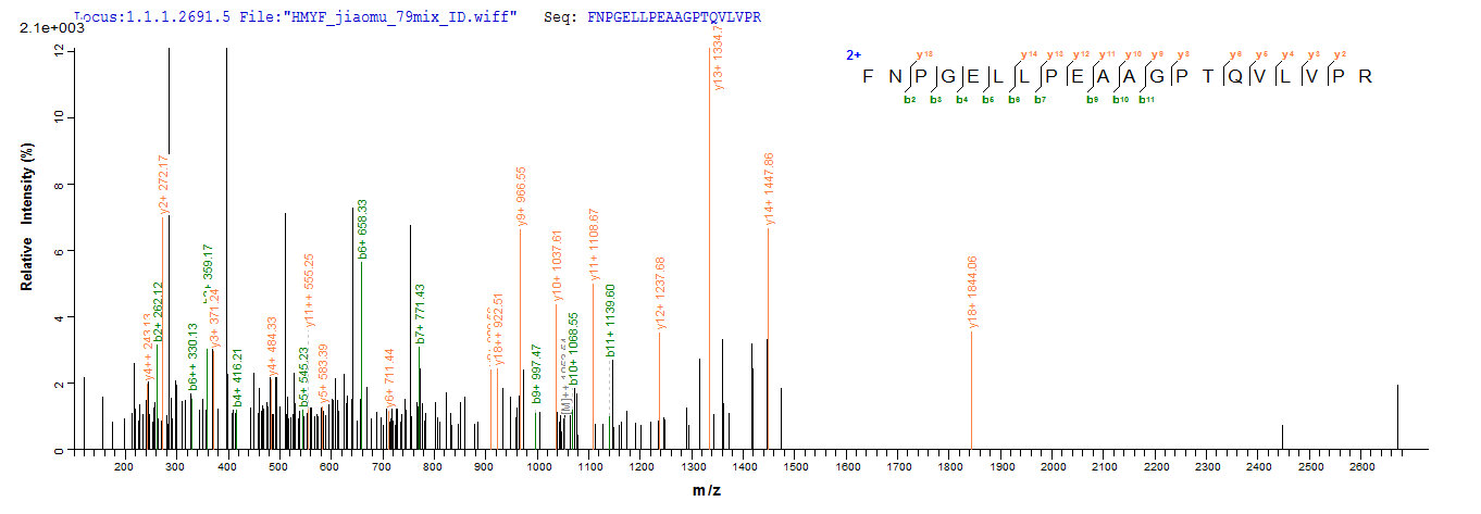SEQUEST analysis of LC MS/MS spectra obtained from a run with QP9654 identified a match between this protein and the spectra of a peptide sequence that matches a region of Immunogenic protein MPT64.