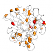ACP5  protein 3D structural model from Catalog of Somatic Mutations in Cancer originally published in the paper COSMIC: somatic cancer genetics at high-resolution