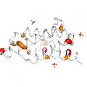 IL 4  protein 3D structural model from Catalog of Somatic Mutations in Cancer originally published in the paper COSMIC: somatic cancer genetics at high-resolution