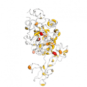 MMP 9 protein 3D structural model from Catalog of Somatic Mutations in Cancer originally published in the paper COSMIC: somatic cancer genetics at high-resolution